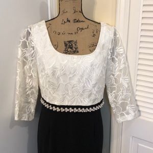 White and Black Evening Gown